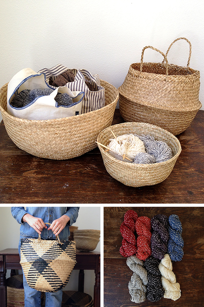 New baskets and yarn in store at Fringe Supply Co