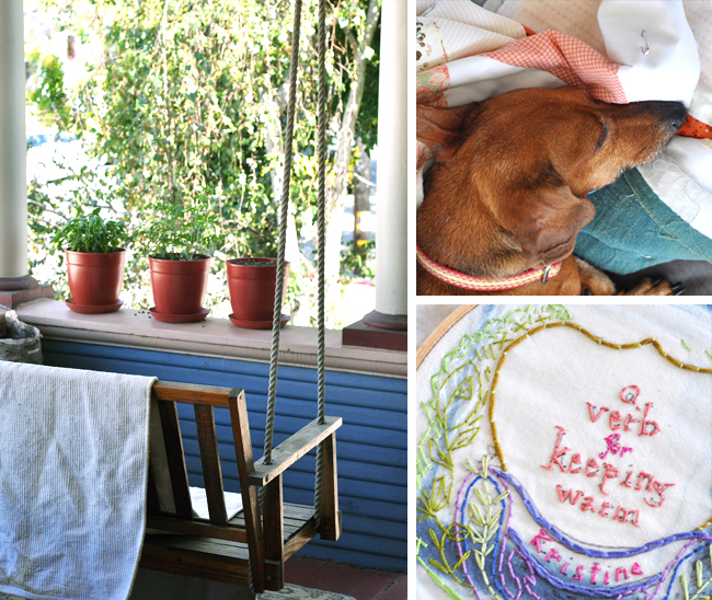 Kristine Vejar porch swing, pooch and embroidery