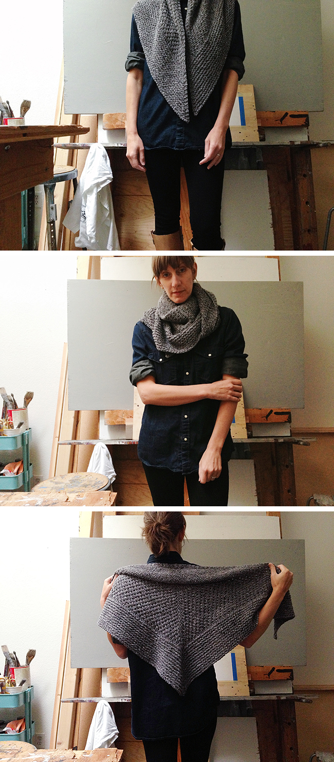 Orlane's textured shawl in bulky grey