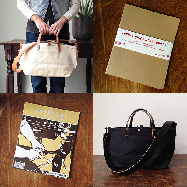 Must-have new totes, Knitters Graph Paper and Taproot 8 at Fringe Supply Co