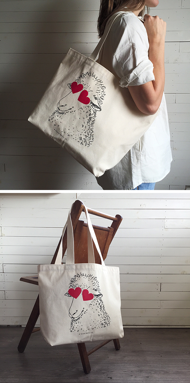 Say hello to the Sheepmoji tote from Fringe Supply Co!