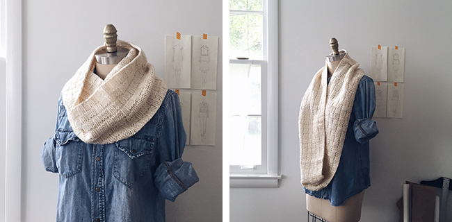 Double Basketweave Cowl kit in Bare at Fringe Supply Co.