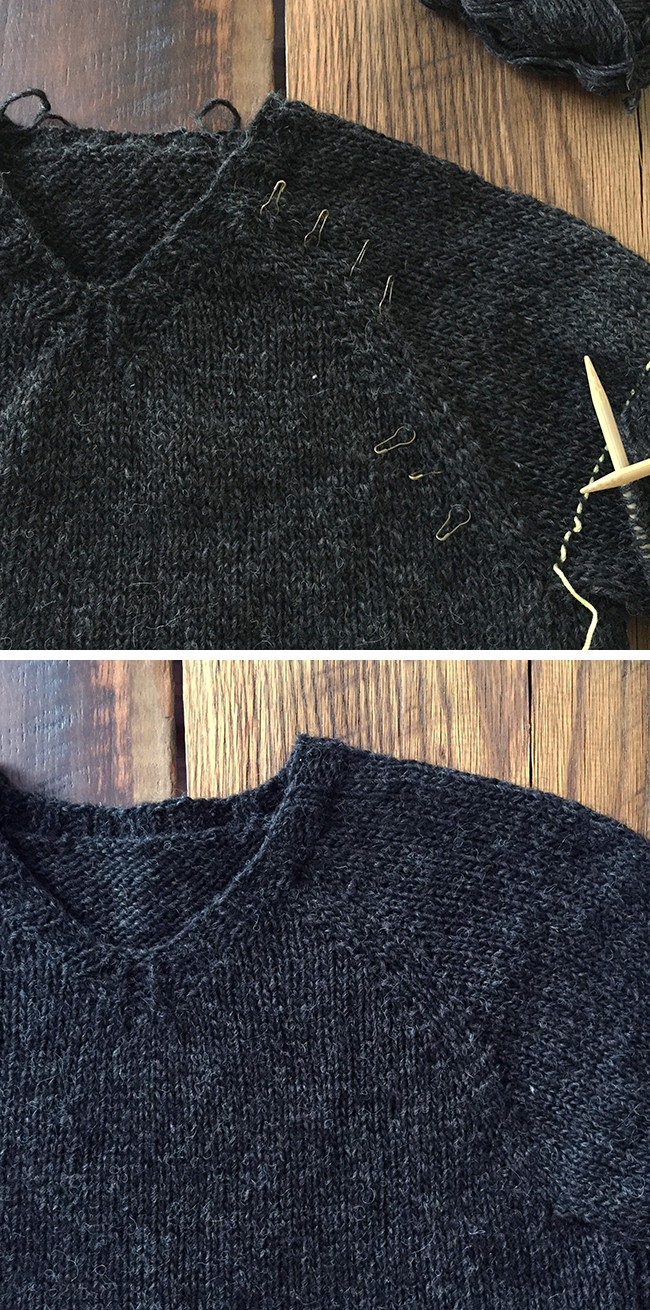 Shaped raglan details