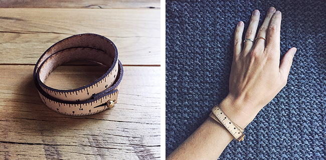 Veg-tan leather wrist ruler — only at Fringe Supply Co.!