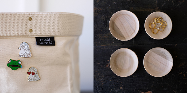 Top 10 ways to improve your knitting life this holiday season: enamel pins and tiny wooden bowls