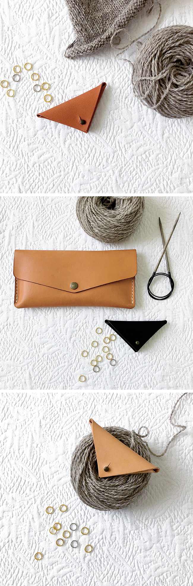 Fringe Supply leather stitch marker pouch, now in 3 colors!