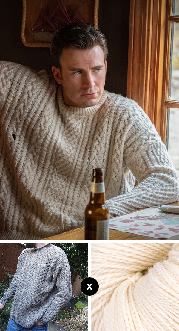 How to knit the Knives Out fisherman cable sweater — pattern suggestions