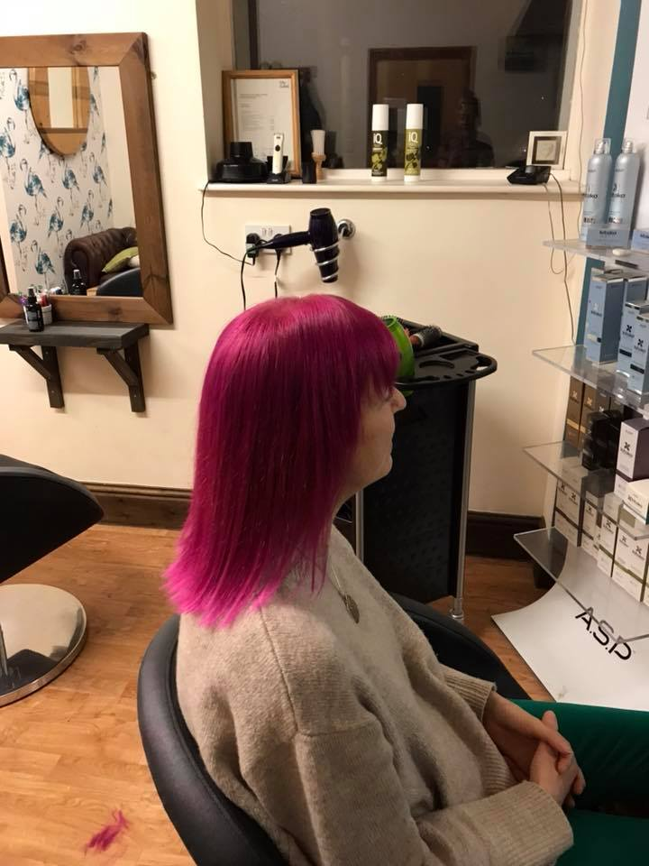 Pink Hair Cut & Colour by Fringe Hair Salon Newquay