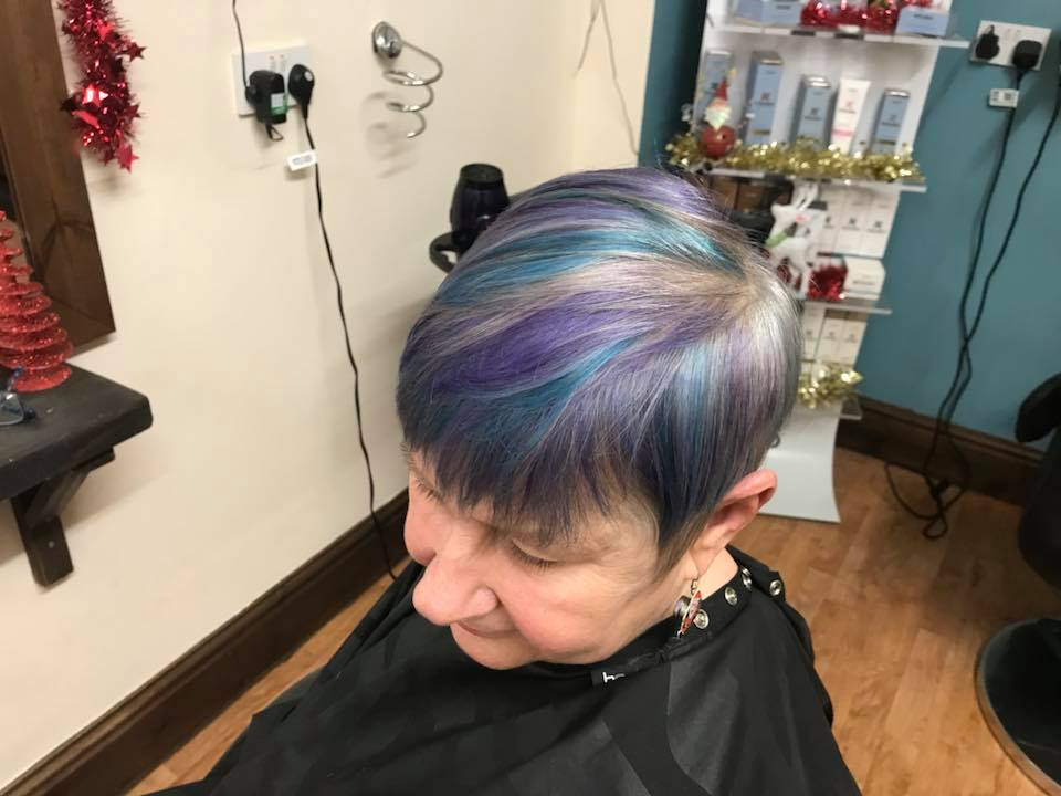 Purple Hair Cut & Colour by Fringe Hair Salon Newquay