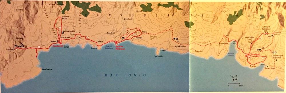 mappa traversata del mani in Grecia