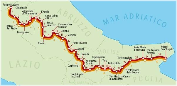 cammini d'italia mappa con le ali ai piedi