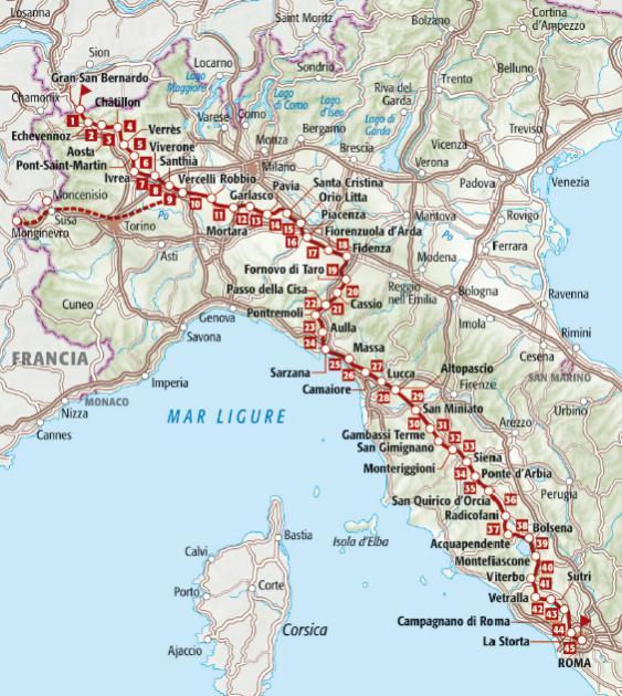 mappa via francigena terre di mezzo