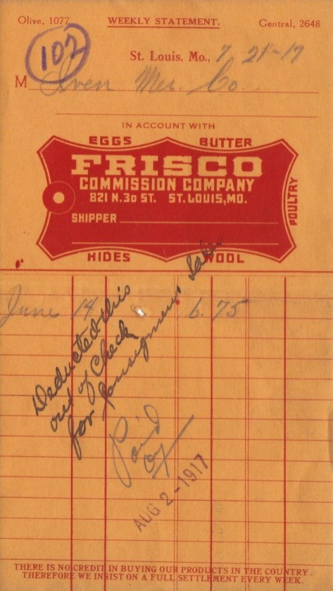 Frisco Commission Company Receipt - July 21, 1917