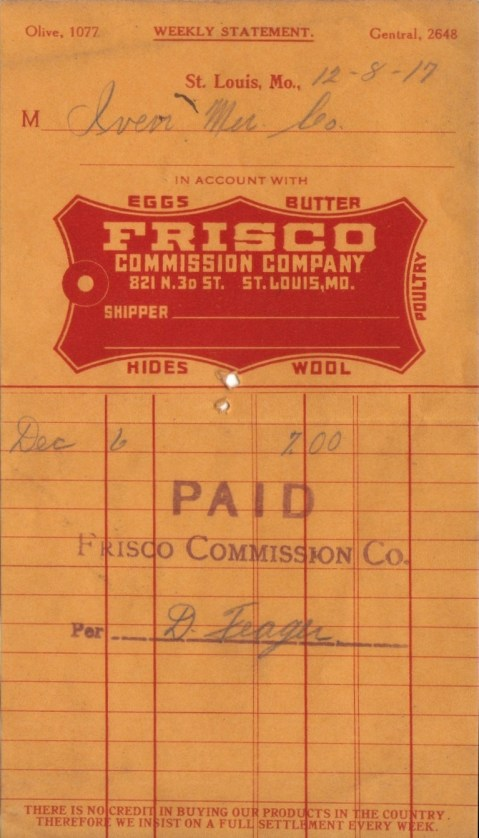 Frisco Commission Company Receipt - December 8, 1917