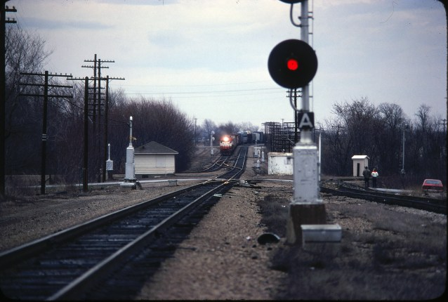 SD45 925 at Nichols Junction, Springfield, Missouri in March 1980 (Ken McElreath)