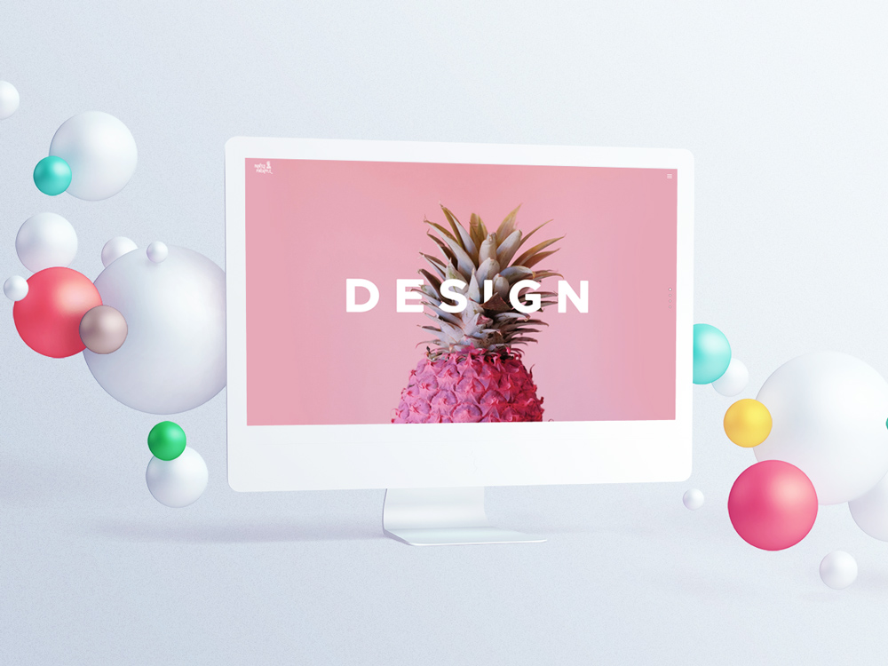 Pink pineapple with balloons