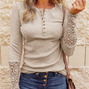 Lace Hollow Out Solid Woman Top Tee Buttons O-neck Long Sleeve T Shirts For Women 2020 Fall New Casual Undershirt Female Tops
