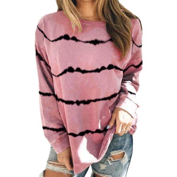 2021 New Autumn Tops 5xl Large Size Women Tie Dye Stripe T Shirt Casual Long Sleeve Oversized Loose Tee Shirt Fashion Ladies Top