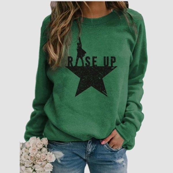 Stars Print Sweatshirts Women Long Sleeve Top Autumn New O-neck Sweatshirt Casual Female Loose Hoodies Datura Letter Pullover 2