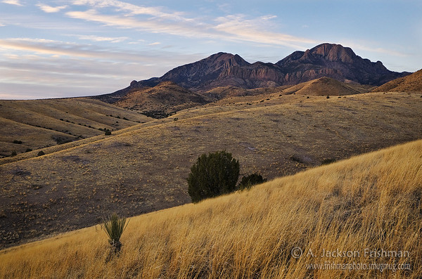 Evening twilight on Vick's Peak and San Mateo Mountain, New Mexico
