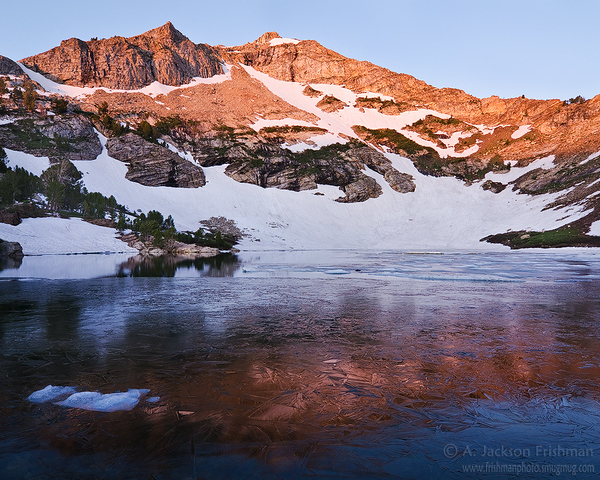 Day dawns over icy Lamoille Lake, Ruby Mountains, Nevada
