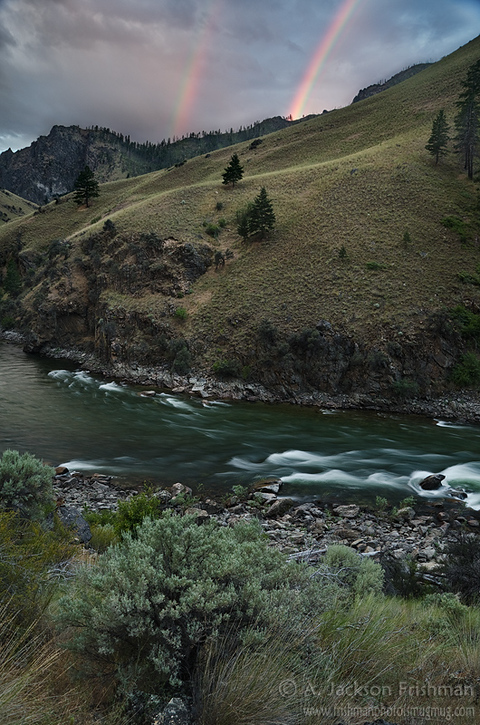 Early morning rainbow over the Middle Fork of the Salmon, Frank Church-River of No Return Wilderness, Idaho