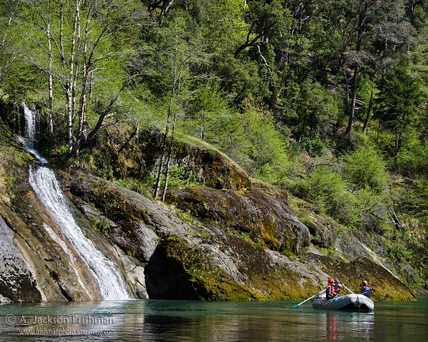 Spring green, waterfall and raft on Oregon's Illinois River