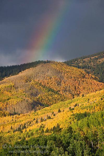 Autumn rainbow in Tesuque Basin, Sangre de Cristo Mountains, New Mexico