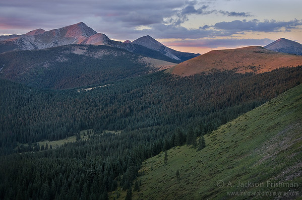 Sunset on the Truchas Peaks and Trailriders Wall, Pecos Wilderness, New Mexico