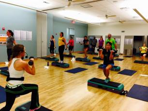 The fitness center offers group exercise classes everyday!