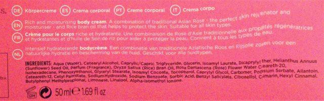 composition crème pour le corps relaxing chakra treets tradition