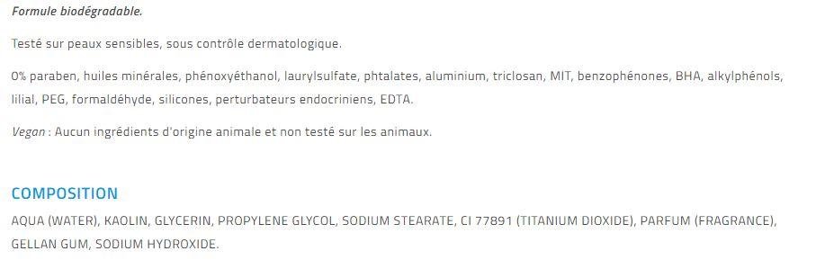 composition ingrédients masque régénérant 3en 1 La Rosée