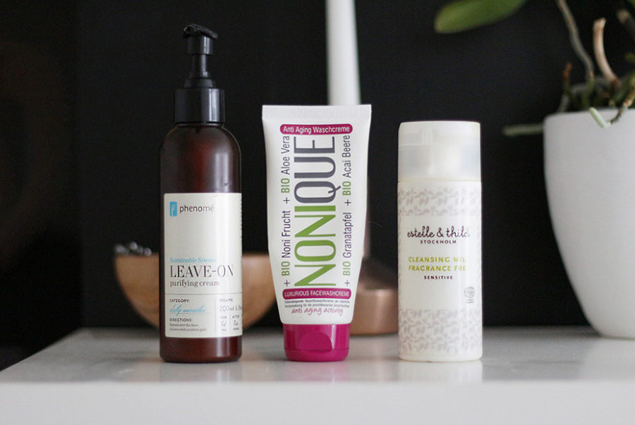 Phenomé Sustainable Science Leave-On Purifying Cream, Nonique Anti Aging Face Wash Cream, Estelle & Thild Fragrance Free Facial Cleansing Milk