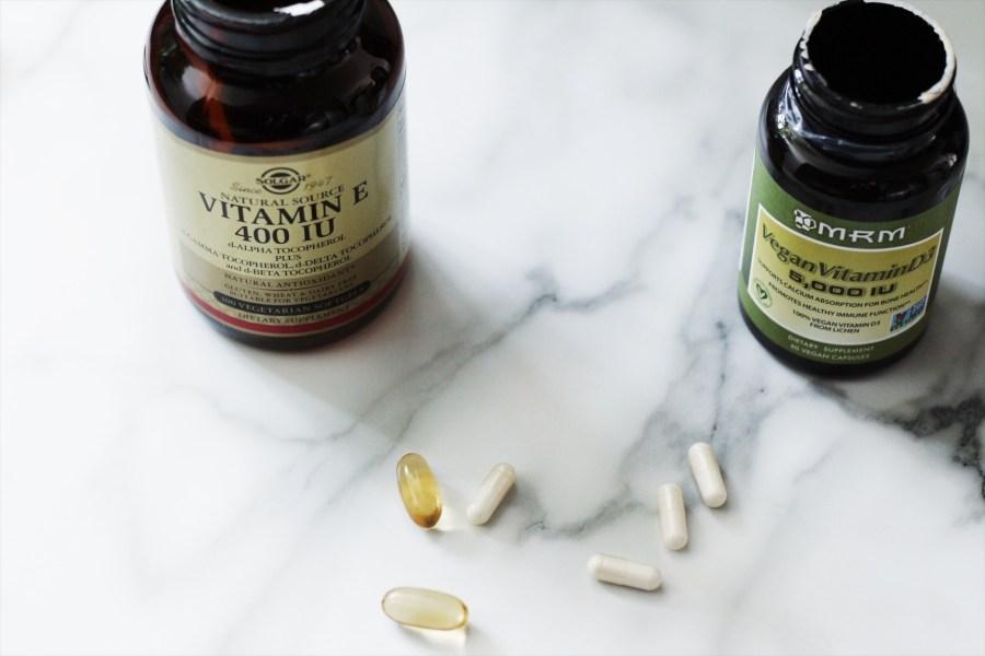 Solgar Vegan Vitamin E 400 IU 100 Veggie Softgels and MRM Vegan Vitamin D3 5000 IU
