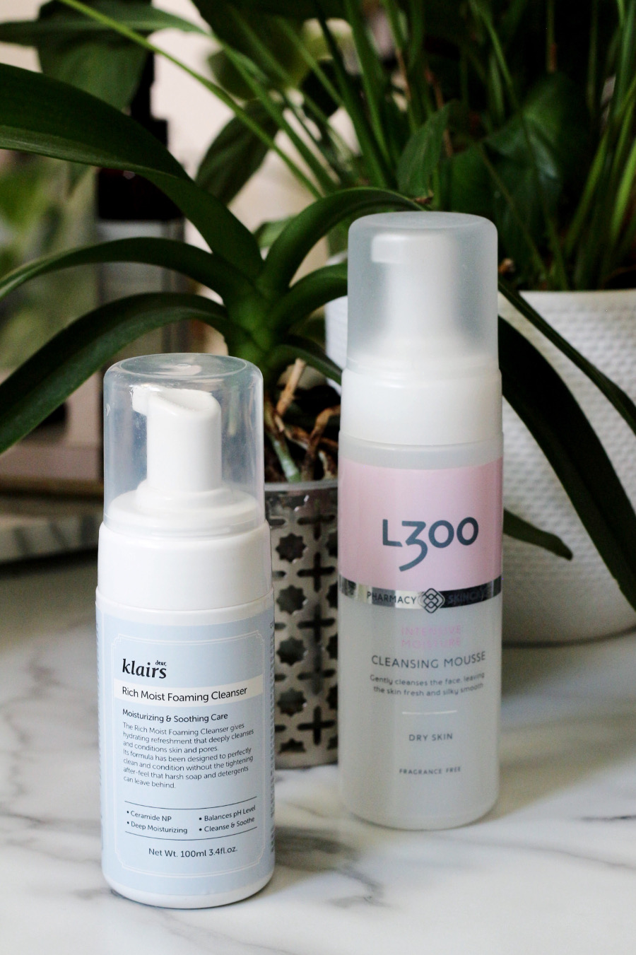 Klairs Rich Moist Foaming Cleanser and L300 Moisturizing Cleansing Mousse