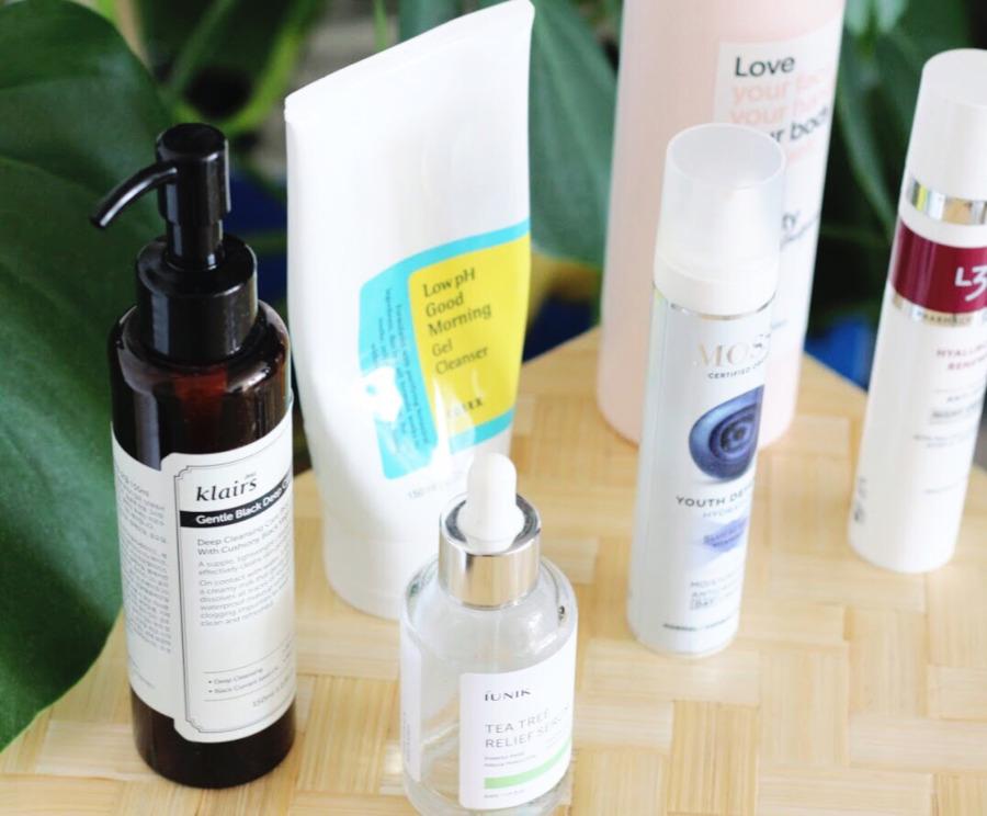 Empties Klairs Black cleansing oil, iUnik Tea Tree Serum, COSRX Low pH Gel Cleanser, L300, Indy Beauty, Mossa