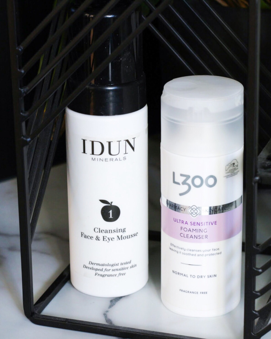 Empties IDUN Cleansing Mousse and L300 Sensitive gentle foaming cleanser