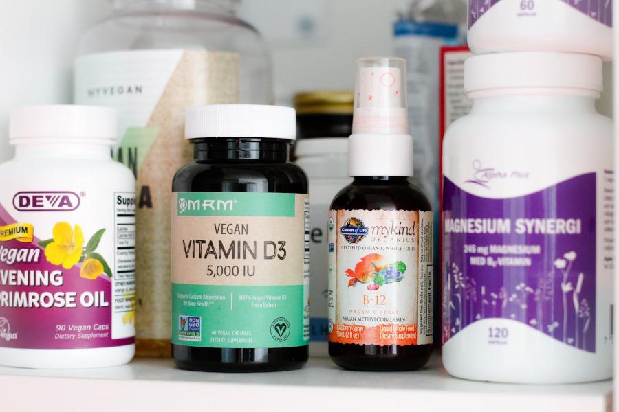 iHerb MRM Vitamin D3 Vegan 5000 IU, MyKind B12 spray, DEVA Vegan Evening Primrose