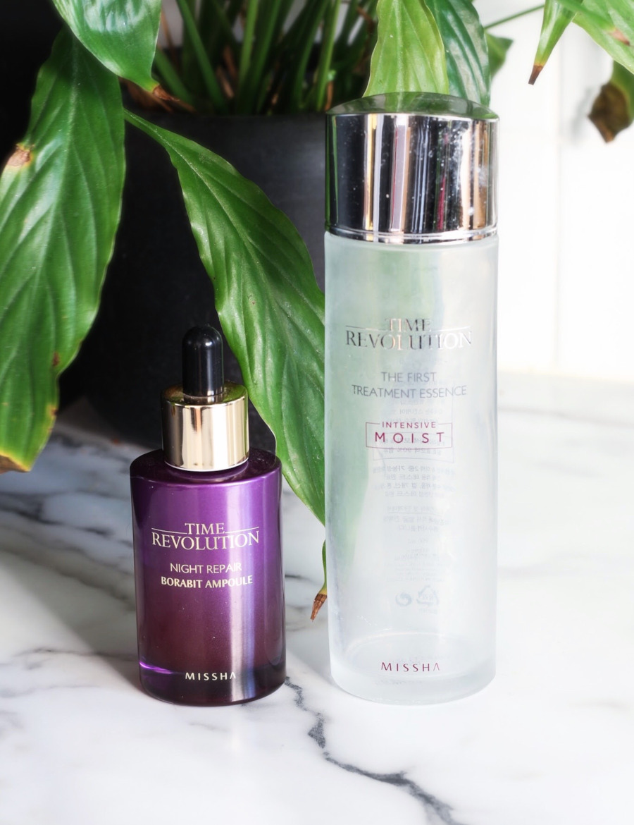 Missha Time Revolution Night Repair Serum Borabit Ampoule and First Treatment Essence Intensive Moist review