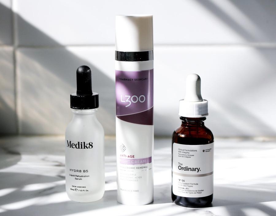 skincare routine Medik8 B5, L300 anti age Night Cream and The ordinary B Oil