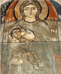 A Coptic Fresco depicts Mary suckling Jesus