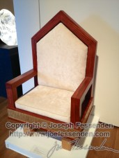 Chair that JP2 picked out of pictures of chairs in parishes in the city to use for Mass when he was here.