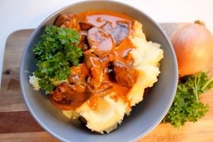 boeuf-stroganoff, bøf-stroganoff, kartoffelmos