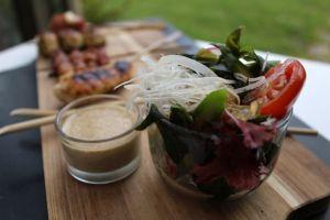 salat, gomadressing, sticks, stick'n'sushi