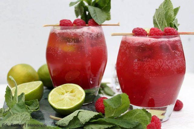 hindbær-mojitos, mojitos, cocktails, cocktailhour