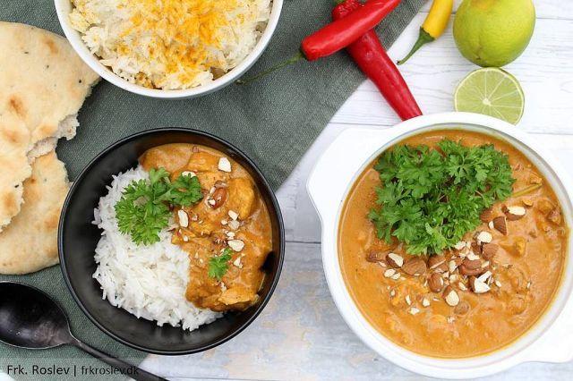 Kylling korma, ris, indisk gryderet