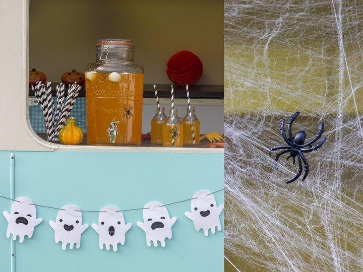 Uhyggeligt pynt med spøgelser og edderkopper