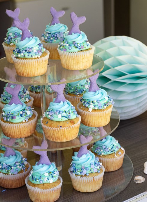 Havfrue cupcakes til havfrue fødselsdag