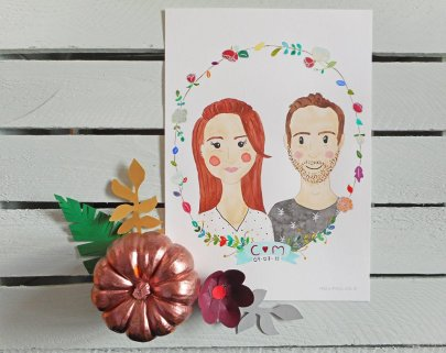TMUWF competition winners: Frog & Pencil Watercolour Couple Portrait