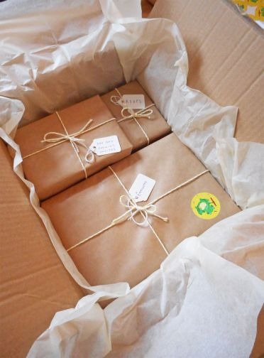 Lucy & Rory's wedding invitations safely packaged.